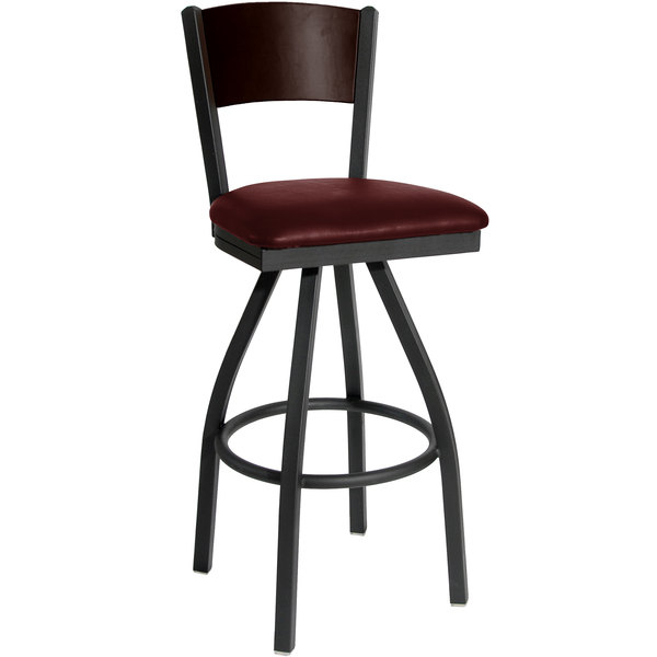 """BFM Seating 2150SBUV-WASB Dale Sand Black Metal Swivel Bar Height Chair with Walnut Finish Wooden Back and 2"""" Burgundy Vinyl Seat"""