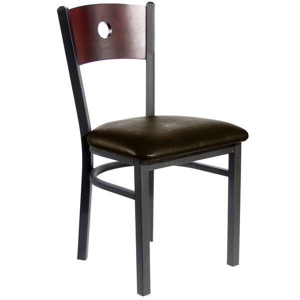 "BFM Seating 2152CDBV-MHSB Darby Sand Black Metal Side Chair with Mahogany Wooden Back and 2"" Dark Brown Vinyl Seat"