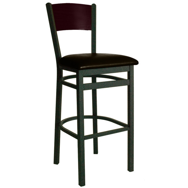 "BFM Seating 2150BDBV-MHSB Dale Sand Black Metal Bar Height Chair with Mahogany Finish Wooden Back and 2"" Dark Brown Vinyl Seat Main Image 1"