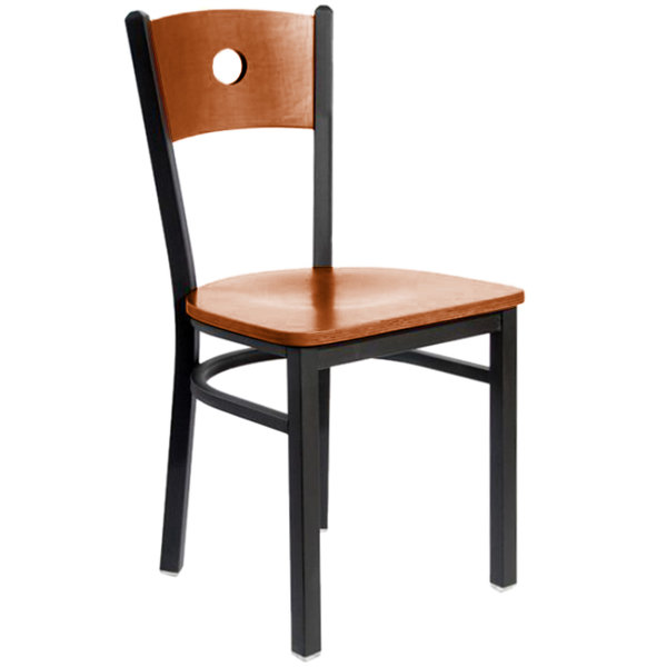 BFM Seating 2152CCHW-CHSB Darby Sand Black Metal Side Chair with Cherry Wooden Back and Seat Main Image 1