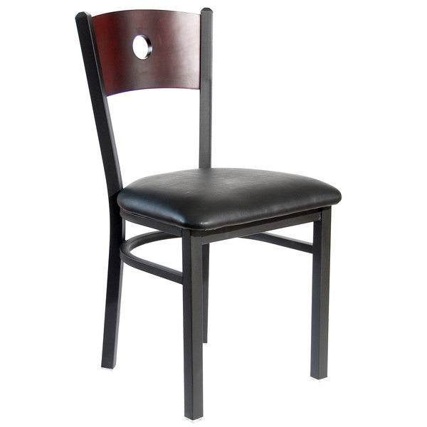 "BFM Seating 2152CBLV-MHSB Darby Sand Black Metal Side Chair with Mahogany Wooden Back and 2"" Black Vinyl Seat"