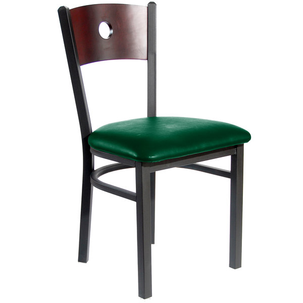 """BFM Seating 2152CGNV-MHSB Darby Sand Black Metal Side Chair with Mahogany Wooden Back and 2"""" Green Vinyl Seat"""