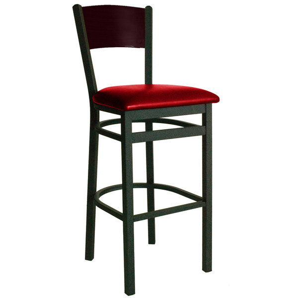 """BFM Seating 2150BRDV-MHSB Dale Sand Black Metal Bar Height Chair with Mahogany Finish Wooden Back and 2"""" Red Vinyl Seat Main Image 1"""
