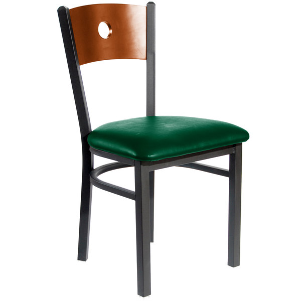 """BFM Seating 2152CGNV-CHSB Darby Sand Black Metal Side Chair with Cherry Wooden Back and 2"""" Green Vinyl Seat Main Image 1"""
