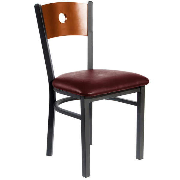 "BFM Seating 2152CBUV-CHSB Darby Sand Black Metal Side Chair with Cherry Wooden Back and 2"" Burgundy Vinyl Seat"