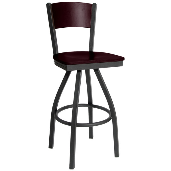 BFM Seating 2150SMHW-MHSB Dale Sand Black Metal Swivel Bar Height Chair with Mahogany Finish Wooden Back and Seat Main Image 1