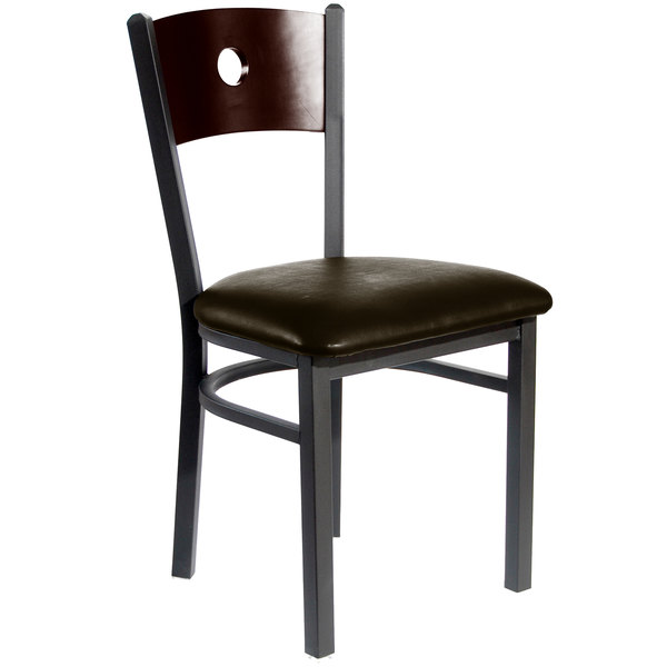 """BFM Seating 2152CDBV-WASB Darby Sand Black Metal Side Chair with Walnut Wooden Back and 2"""" Dark Brown Vinyl Seat Main Image 1"""