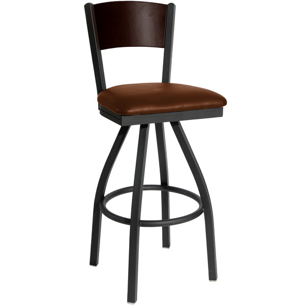 """BFM Seating 2150SLBV-WASB Dale Sand Black Metal Swivel Bar Height Chair with Walnut Finish Wooden Back and 2"""" Light Brown Vinyl Seat"""