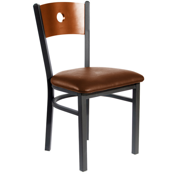 "BFM Seating 2152CLBV-CHSB Darby Sand Black Metal Side Chair with Cherry Wooden Back and 2"" Light Brown Vinyl Seat"