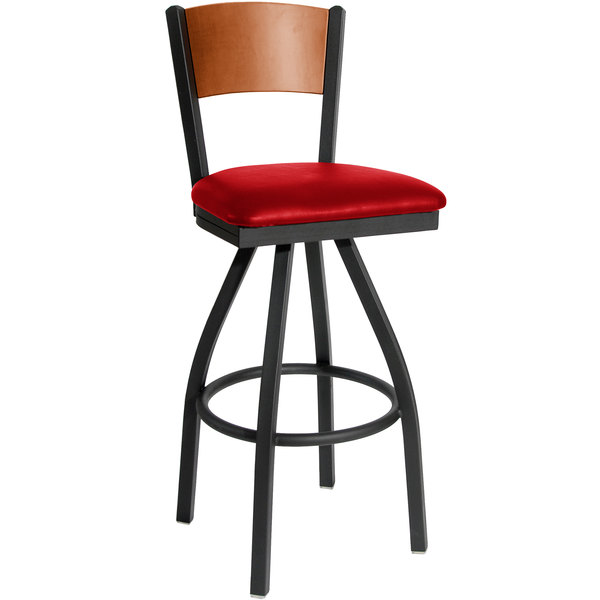 """BFM Seating 2150SRDV-CHSB Dale Sand Black Metal Swivel Bar Height Chair with Cherry Finish Wooden Back and 2"""" Red Vinyl Seat Main Image 1"""