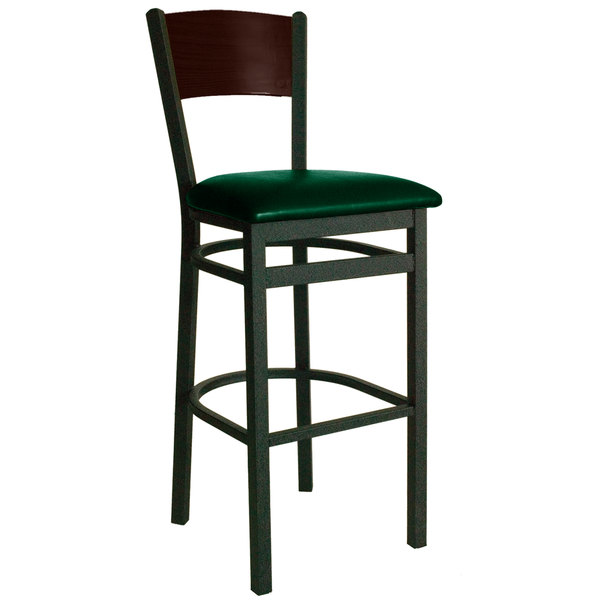 "BFM Seating 2150BGNV-WASB Dale Sand Black Metal Bar Height Chair with Walnut Finish Wooden Back and 2"" Green Vinyl Seat"