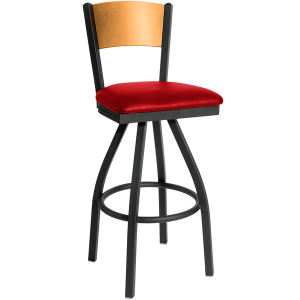 "BFM Seating 2150SRDV-NTSB Dale Sand Black Metal Swivel Bar Height Chair with Natural Finish Wooden Back and 2"" Red Vinyl Seat"