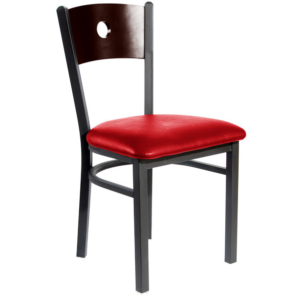 """BFM Seating 2152CRDV-WASB Darby Sand Black Metal Side Chair with Walnut Wooden Back and 2"""" Red Vinyl Seat Main Image 1"""