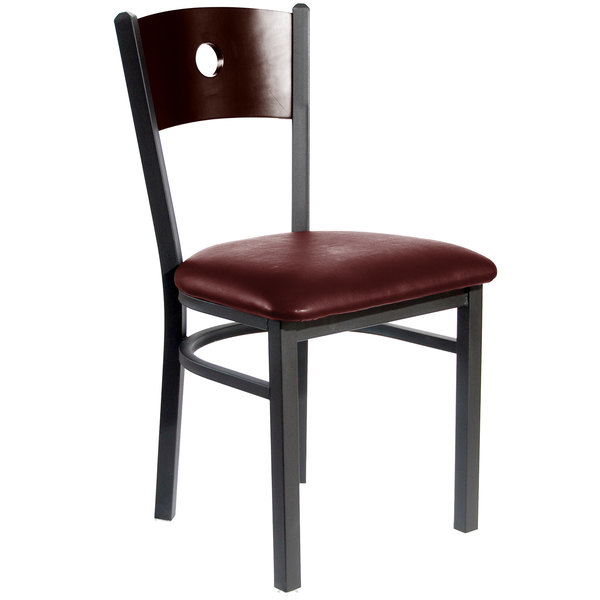 """BFM Seating 2152CBUV-WASB Darby Sand Black Metal Side Chair with Walnut Wooden Back and 2"""" Burgundy Vinyl Seat"""
