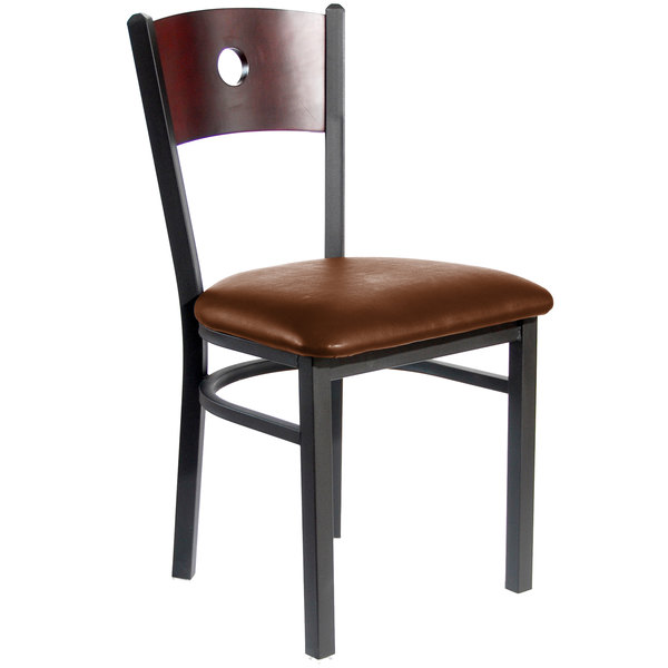 """BFM Seating 2152CLBV-MHSB Darby Sand Black Metal Side Chair with Mahogany Wooden Back and 2"""" Light Brown Vinyl Seat Main Image 1"""