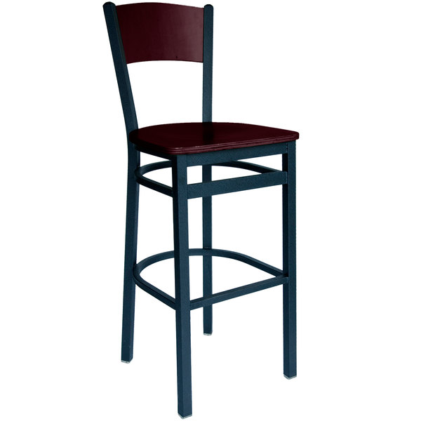 BFM Seating 2150BMHW-MHSB Dale Sand Black Metal Bar Height Chair with Mahogany Finish Wooden Back and Seat