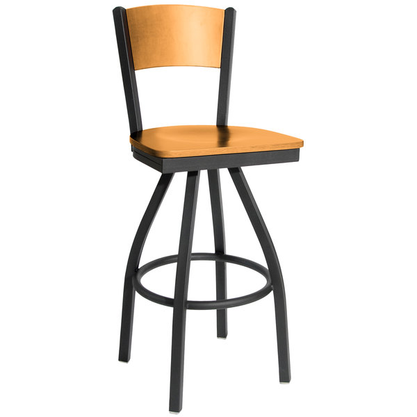BFM Seating 2150SNTW-NTSB Dale Sand Black Metal Swivel Bar Height Chair with Natural Finish Wooden Back and Seat
