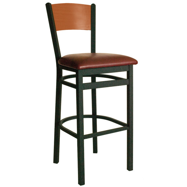"""BFM Seating 2150BBUV-CHSB Dale Sand Black Metal Bar Height Chair with Cherry Finish Wooden Back and 2"""" Burgundy Vinyl Seat Main Image 1"""