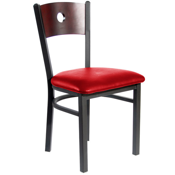 "BFM Seating 2152CRDV-MHSB Darby Sand Black Metal Side Chair with Mahogany Wooden Back and 2"" Red Vinyl Seat Main Image 1"
