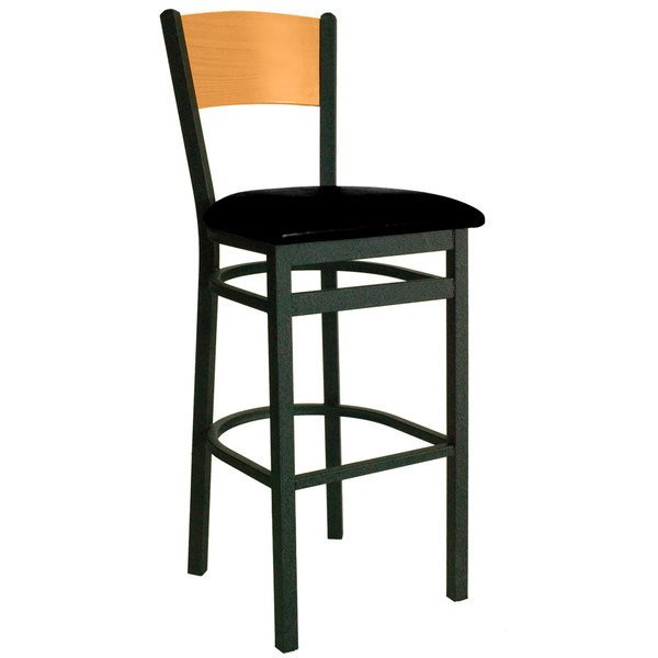"""BFM Seating 2150BBLV-NTSB Dale Sand Black Metal Bar Height Chair with Natural Finish Wooden Back and 2"""" Black Vinyl Seat Main Image 1"""