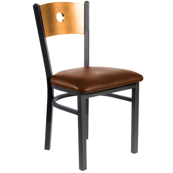 "BFM Seating 2152CLBV-NTSB Darby Sand Black Metal Side Chair with Natural Wooden Back and 2"" Light Brown Vinyl Seat Main Image 1"