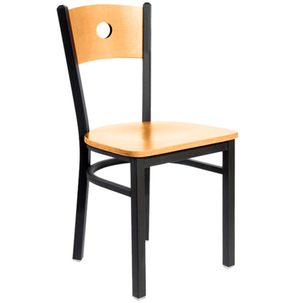 BFM Seating 2152CNTW-NTSB Darby Sand Black Metal Side Chair with Natural Wooden Back and Seat