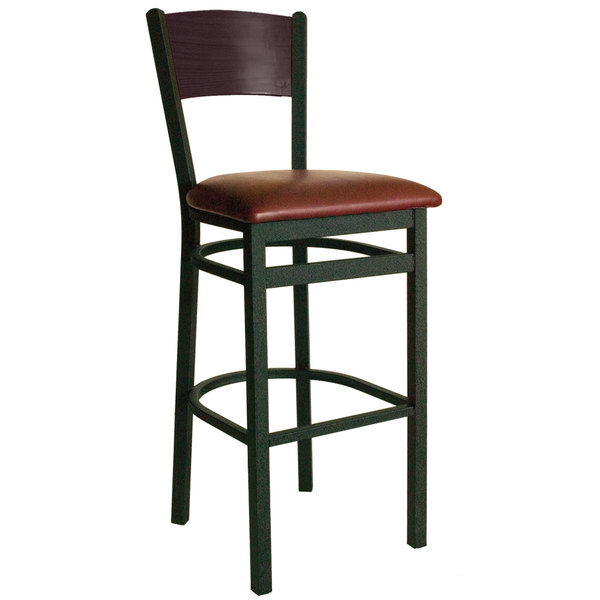 "BFM Seating 2150BBUV-MHSB Dale Sand Black Metal Bar Height Chair with Mahogany Finish Wooden Back and 2"" Burgundy Vinyl Seat Main Image 1"