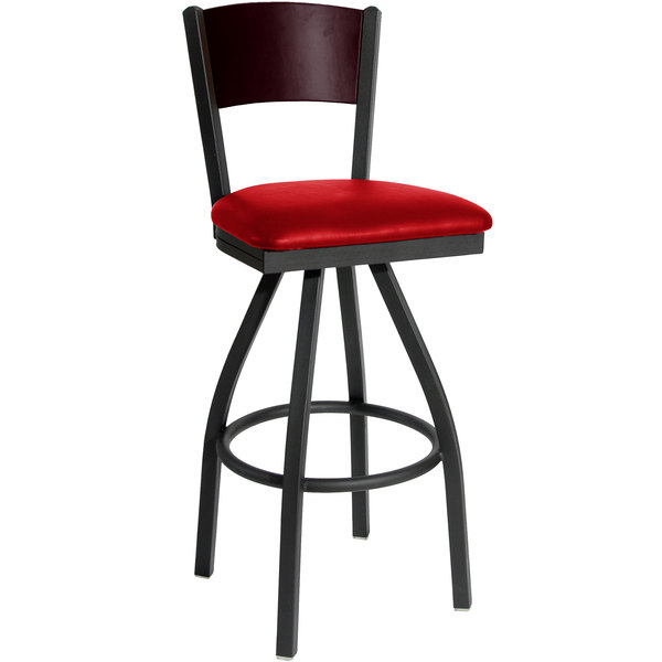 "BFM Seating 2150SRDV-MHSB Dale Sand Black Metal Swivel Bar Height Chair with Mahogany Finish Wooden Back and 2"" Red Vinyl Seat"