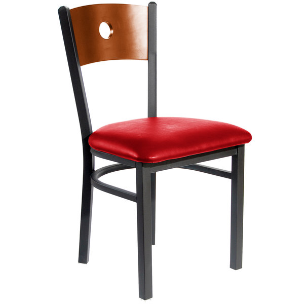 "BFM Seating 2152CRDV-CHSB Darby Sand Black Metal Side Chair with Cherry Wooden Back and 2"" Red Vinyl Seat"