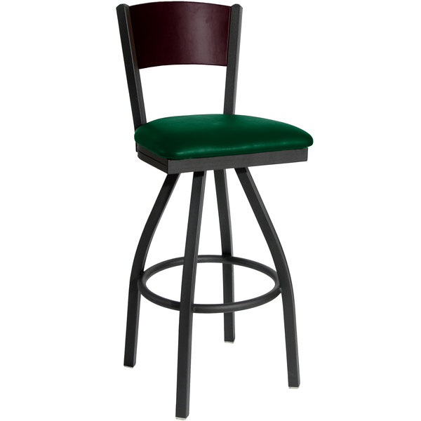 """BFM Seating 2150SGNV-MHSB Dale Sand Black Metal Swivel Bar Height Chair with Mahogany Finish Wooden Back and 2"""" Green Vinyl Seat"""