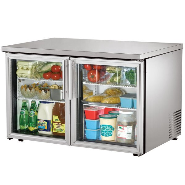 True TUC-48G-LP-LD 48 inch Low Profile Undercounter Refrigerator with Glass Doors