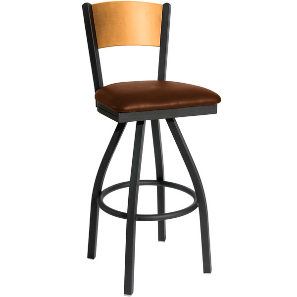 "BFM Seating 2150SLBV-NTSB Dale Sand Black Metal Swivel Bar Height Chair with Natural Finish Wooden Back and 2"" Light Brown Vinyl Seat Main Image 1"