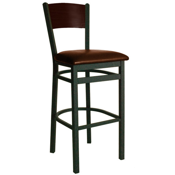 "BFM Seating 2150BLBV-WASB Dale Sand Black Metal Bar Height Chair with Walnut Finish Wooden Back and 2"" Light Brown Vinyl Seat"