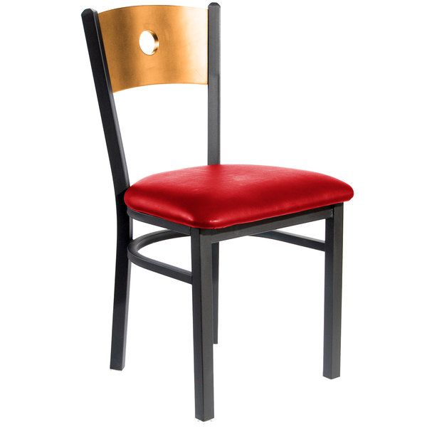 """BFM Seating 2152CRDV-NTSB Darby Sand Black Metal Side Chair with Natural Wooden Back and 2"""" Red Vinyl Seat Main Image 1"""