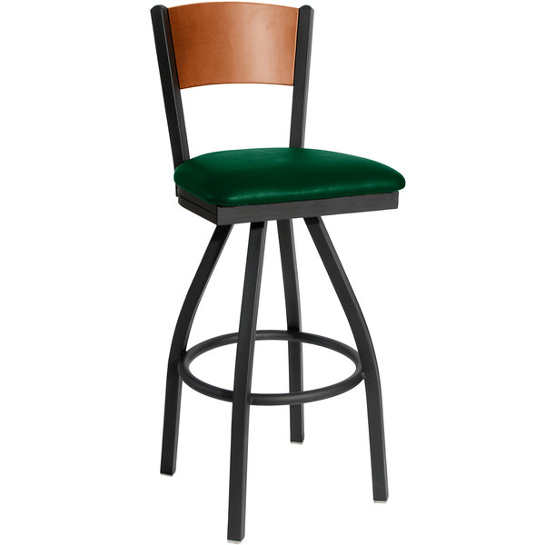 """BFM Seating 2150SGNV-CHSB Dale Sand Black Metal Swivel Bar Height Chair with Cherry Finish Wooden Back and 2"""" Green Vinyl Seat Main Image 1"""