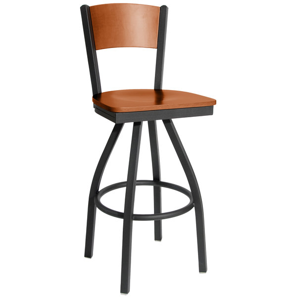 BFM Seating 2150SCHW-CHSB Dale Sand Black Metal Swivel Bar Height Chair with Cherry Finish Wooden Back and Seat Main Image 1