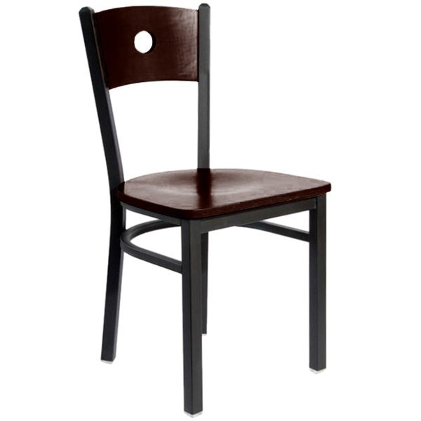 BFM Seating 2152CWAW-WASB Darby Sand Black Metal Side Chair with Walnut Wooden Back and Seat