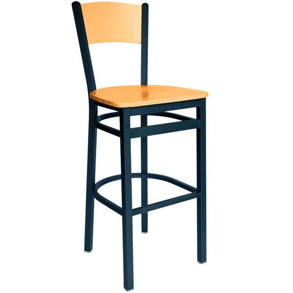 BFM Seating 2150BNTW-NTSB Dale Sand Black Metal Bar Height Chair with Natural Finish Wooden Back and Seat Main Image 1