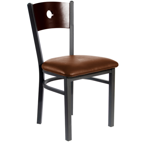 "BFM Seating 2152CLBV-WASB Darby Sand Black Metal Side Chair with Walnut Wooden Back and 2"" Light Brown Vinyl Seat"