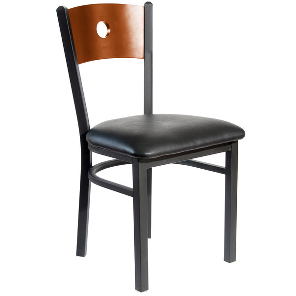 """BFM Seating 2152CBLV-CHSB Darby Sand Black Metal Side Chair with Cherry Wooden Back and 2"""" Black Vinyl Seat Main Image 1"""