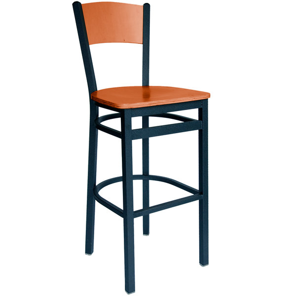 BFM Seating 2150BCHW-CHSB Dale Sand Black Metal Bar Height Chair with Cherry Finish Wooden Back and Seat