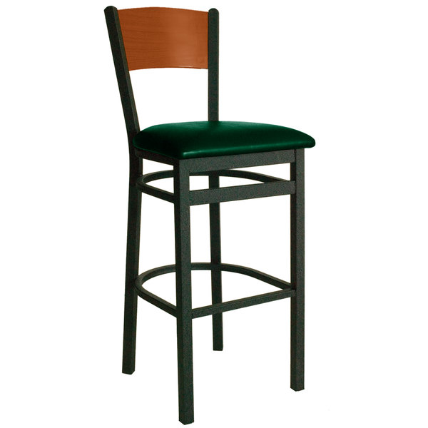"BFM Seating 2150BGNV-CHSB Dale Sand Black Metal Bar Height Chair with Cherry Finish Wooden Back and 2"" Green Vinyl Seat Main Image 1"