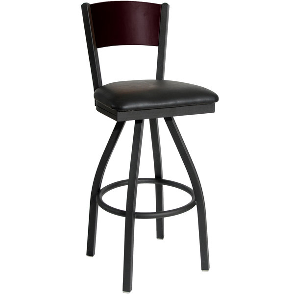 """BFM Seating 2150SBLV-MHSB Dale Sand Black Metal Swivel Bar Height Chair with Mahogany Finish Wooden Back and 2"""" Black Vinyl Seat Main Image 1"""