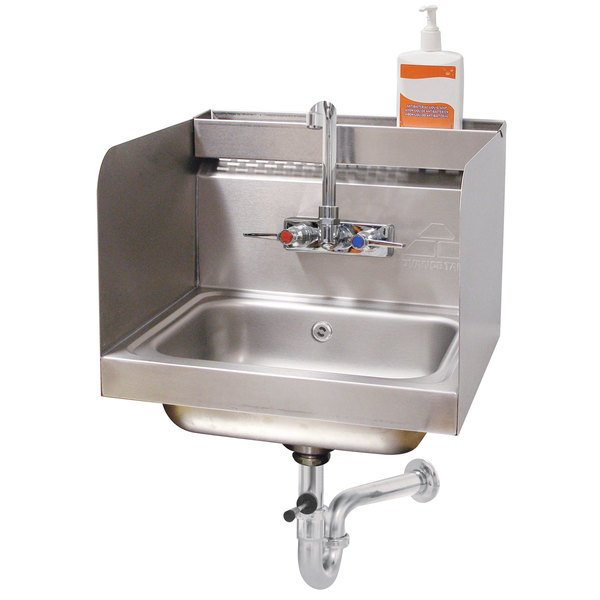 "Advance Tabco 7-PS-76 Hand Sink with Splash Mounted Gooseneck Faucet, 12"" Side Splash Guards and Utility Tray - 17 1/4"""