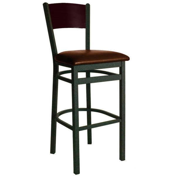 """BFM Seating 2150BLBV-MHSB Dale Sand Black Metal Bar Height Chair with Mahogany Finish Wooden Back and 2"""" Light Brown Vinyl Seat"""