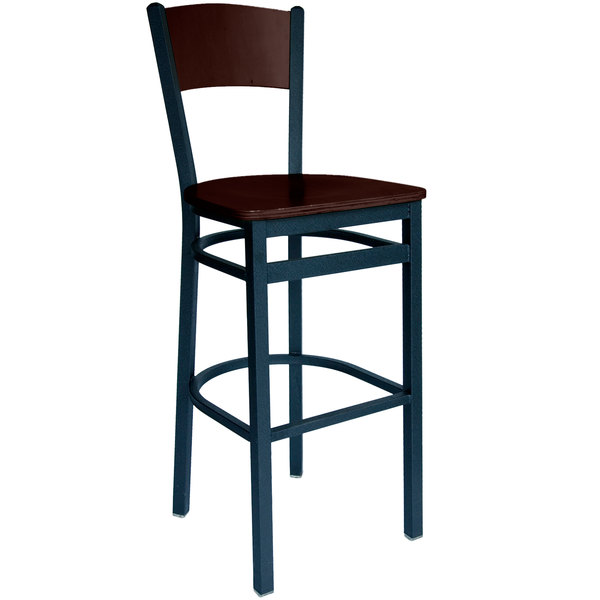 BFM Seating 2150BWAW-WASB Dale Sand Black Metal Bar Height Chair with Walnut Finish Wooden Back and Seat Main Image 1