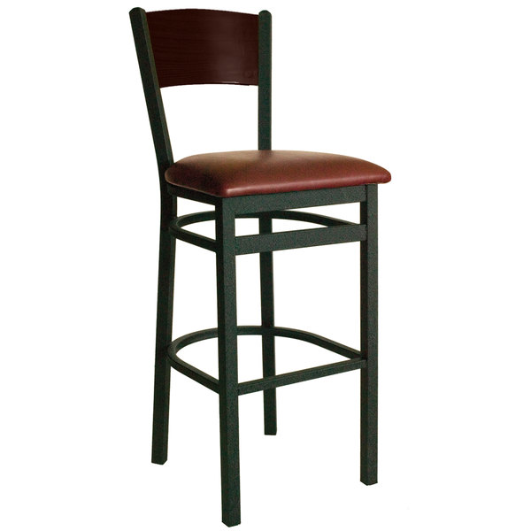 """BFM Seating 2150BBUV-WASB Dale Sand Black Metal Bar Height Chair with Walnut Finish Wooden Back and 2"""" Burgundy Vinyl Seat"""