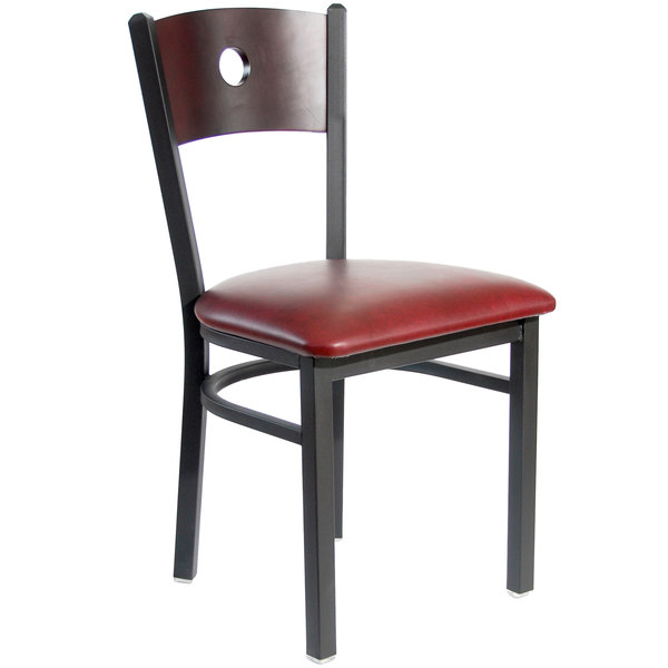 "BFM Seating 2152CBUV-MHSB Darby Sand Black Metal Side Chair with Mahogany Wooden Back and 2"" Burgundy Vinyl Seat"