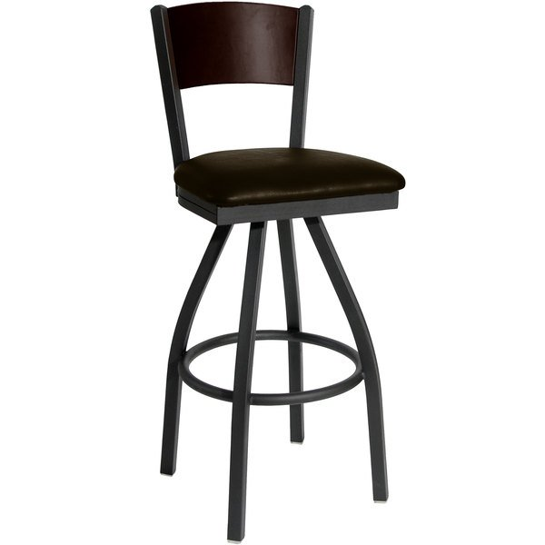 "BFM Seating 2150SDBV-WASB Dale Sand Black Metal Swivel Bar Height Chair with Walnut Finish Wooden Back and 2"" Dark Brown Vinyl Seat"
