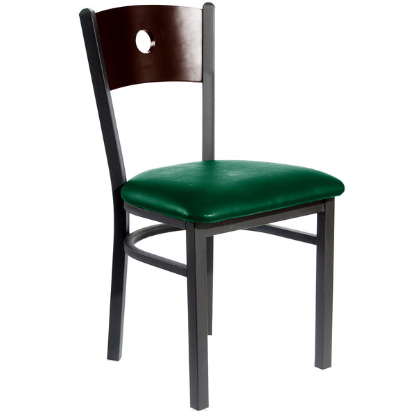 """BFM Seating 2152CGNV-WASB Darby Sand Black Metal Side Chair with Walnut Wooden Back and 2"""" Green Vinyl Seat Main Image 1"""